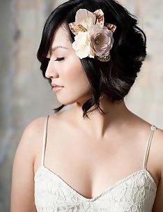 Свадебные прически на короткие волосы #29