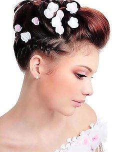 Свадебные прически на короткие волосы #32