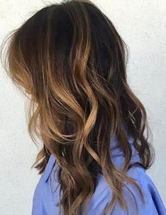 Балаяж на темные волосы #84